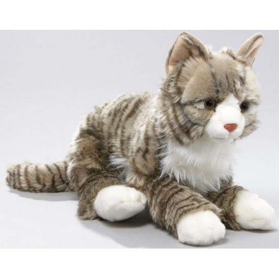 Pluche grijze kat knuffel in liggende houding van circa 37 cm groot. deze knuffel kat heeft kraaloogjes....