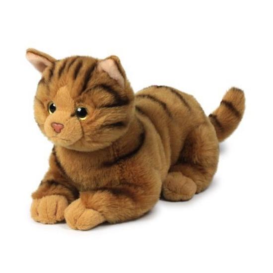 Pluche liggende bruine kat knuffel 20 cm. deze pluche liggende kat knuffel heeft een lengte van 20 cm en is ...