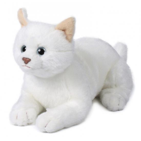 Pluche witte liggende kat knuffel 20 cm. deze pluche liggende kat knuffel heeft een lengte van 20 cm en is ...