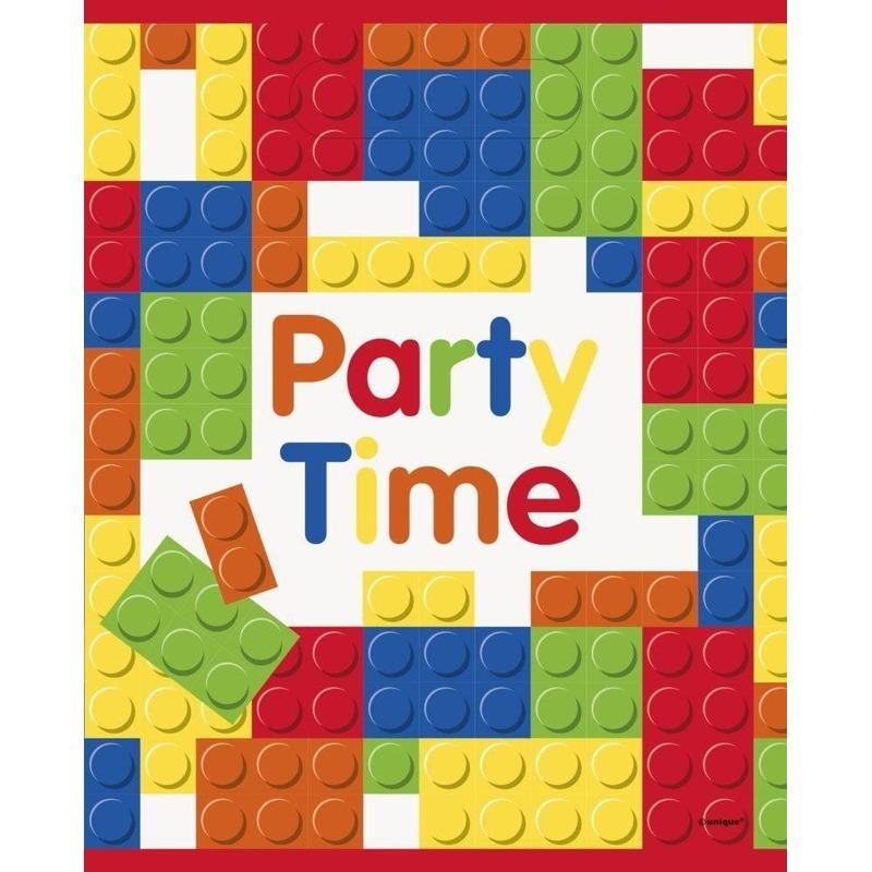 16x Bouwstenen/blokken thema feestzakjes/uitdeelzakjes