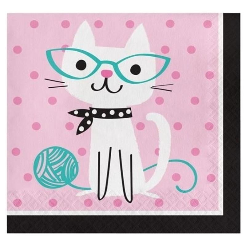16x Katten/poezen thema servetten