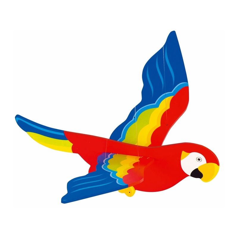 56 cm grote houten papegaai