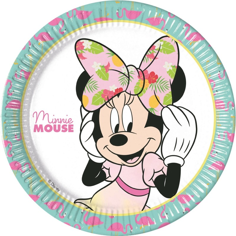 8x Disney Minnie Mouse tropical themafeest bordjes 23 cm