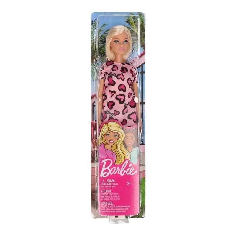 Barbie pop blondine met roze jurk speelgoed