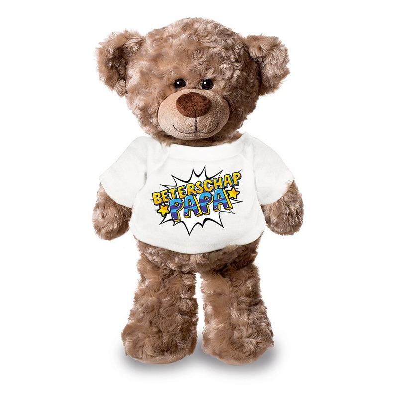 Beterschap papa pluche teddybeer knuffel 24 cm met wit t-shirt