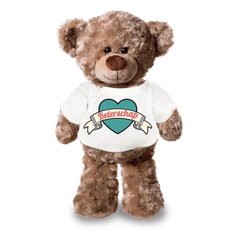 Beterschap pluche teddybeer knuffel 24 cm met wit retro t-shirt