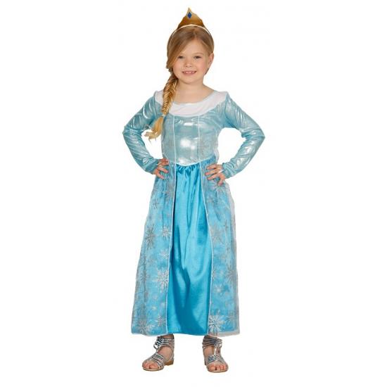 Blauw prinsesje carnavalskostuum