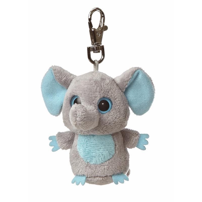 Pluche sleutelhangers Blauwe olifanten sleutelhangertje 7,5 cm