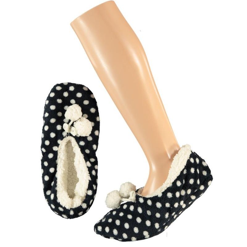 a48e6e25d5a61d Dames ballerina pantoffels/sloffen stippen navy maat 40-42 | Sloffen ...