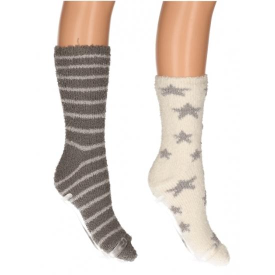 Sokken en Panty's CartoonPartner Dames bedsokken 2 pak beige grijs