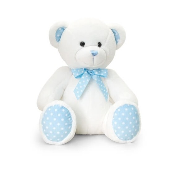 Geboorte jongetje blauw knuffelbeer 25 cm