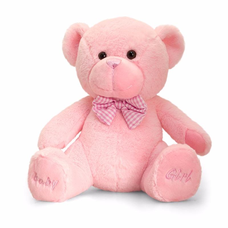 Geboorte meisje roze knuffelbeer 25 cm