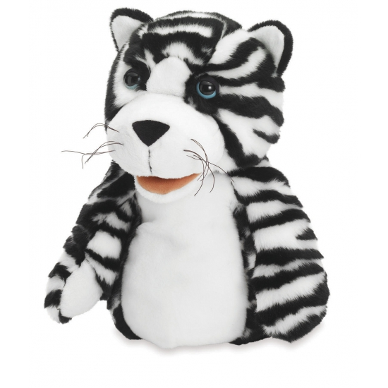 Handpoppen CartoonPartner Handpop zwart witte tijgers
