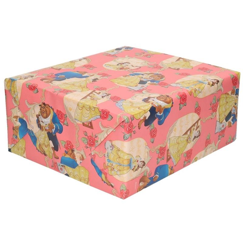 Inpakpapier/cadeaupapier Disney Belle en het Beest roze 200x70 c