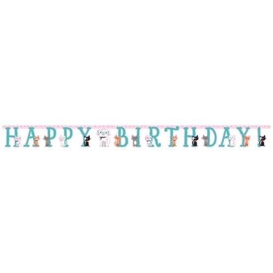 Katten/poezen thema wenslijn Happy Birthday 210 cm