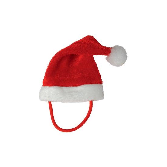 Mini kerstmuts met elastisch bandje. rode mini kerstmuts voor pluche knuffeldieren, poppen of katten. ...