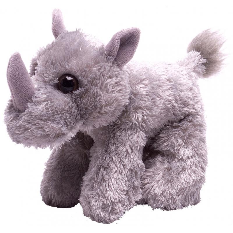 Wild Republic Knuffel pluche neushoorn grijs 18 cm Dieren knuffels
