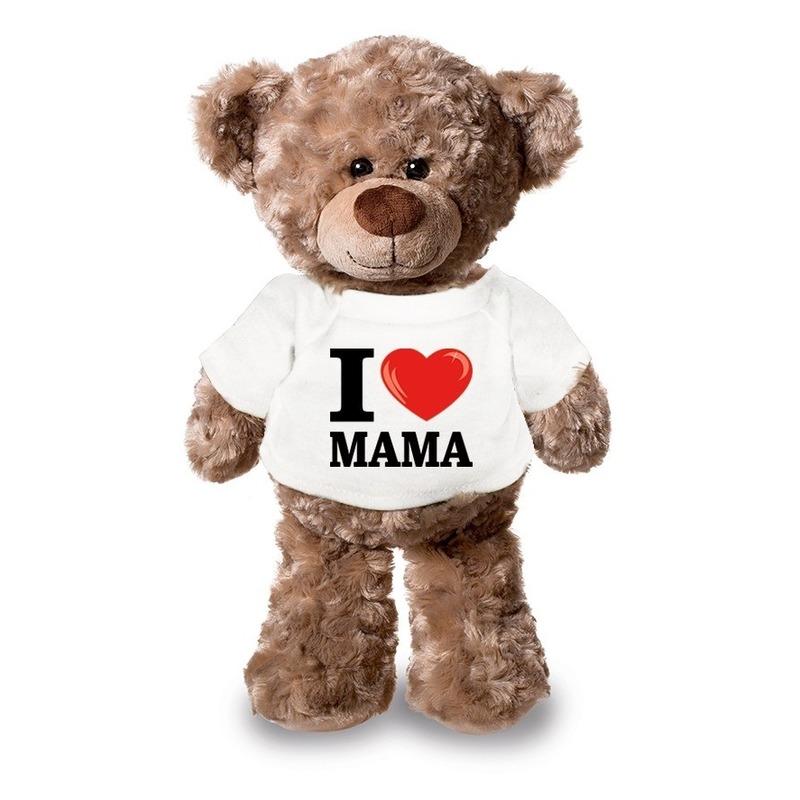 Knuffel teddybeer met I love mama shirt 24 cm