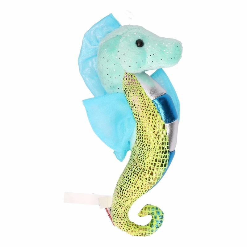 Dieren knuffels Geen Knuffel zeepaardje glimmend aqua 25 cm