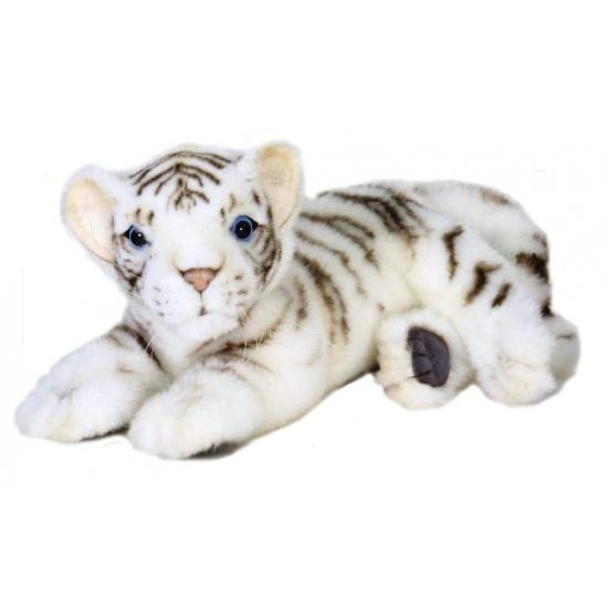 Dieren knuffels Levensechte witte pluche tijger 26 cm