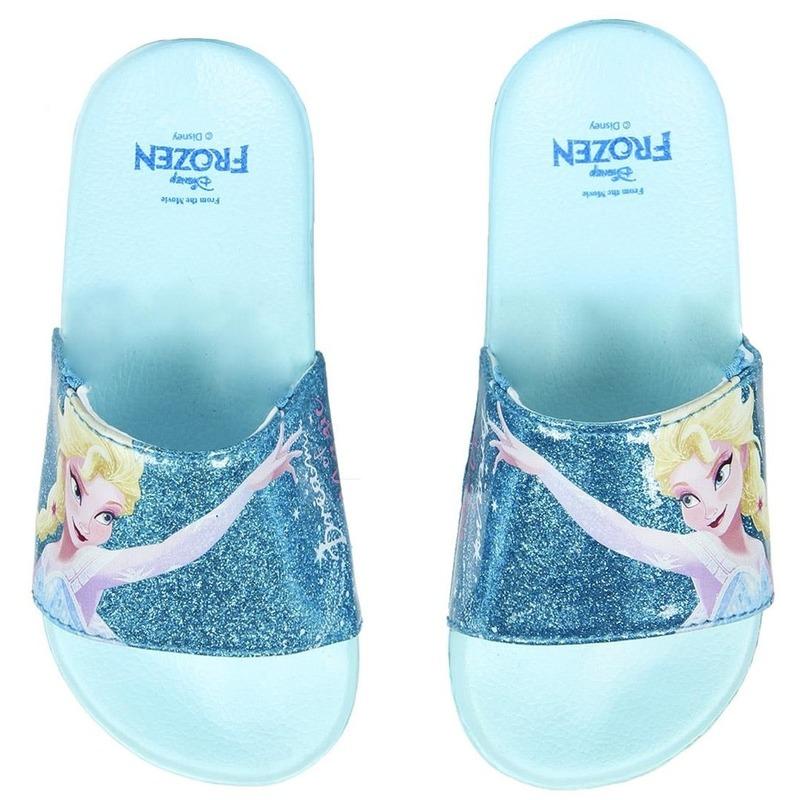 Lichtblauwe Disney Frozen badslippers/saunaslippers voor meisjes