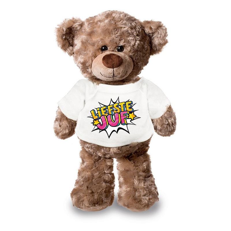 Liefste juf pluche teddybeer knuffel 24 cm met wit t-shirt