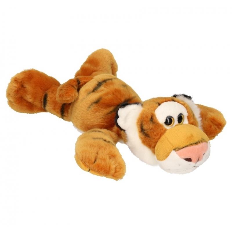 Liggende knuffel tijger met kraaloogjes 33 cm Geen Hoge kwaliteit