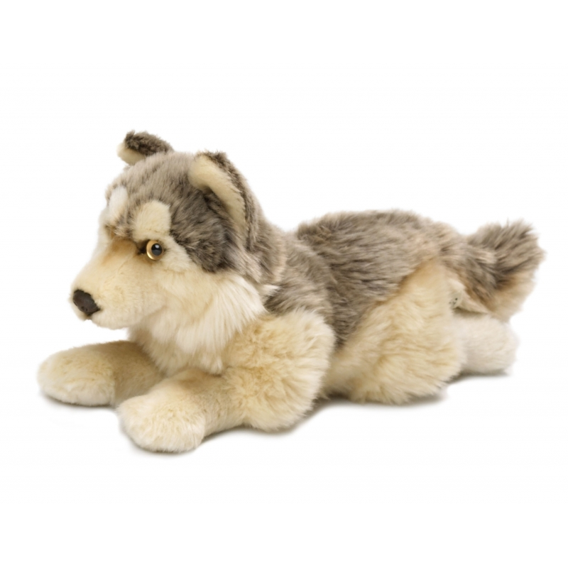 Liggende knuffel wolf 25 cm