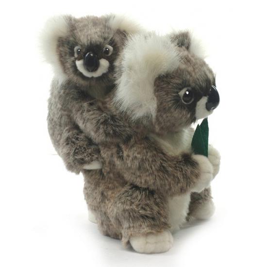 Dieren knuffels Hansa Luxe pluche koala met baby 28 cm
