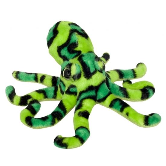 Dieren knuffels CartoonPartner Octopus knuffeltje groen zwart 25 cm