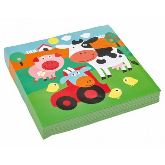 Papieren servetjes boerderij dieren
