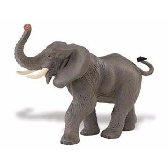 Plastic Afrikaanse olifant 16 cm met gestrekte slurf Safari LTD Beste kwaliteit