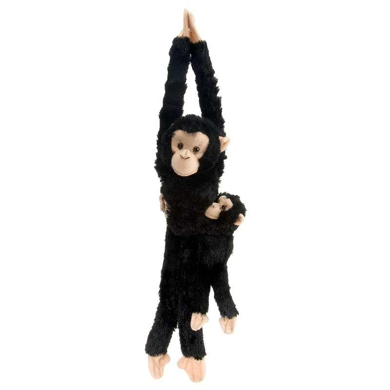 b21eea69a4c110 Zwarte knuffel aap hangend met baby 43 cm   Diverse apen soorten ...
