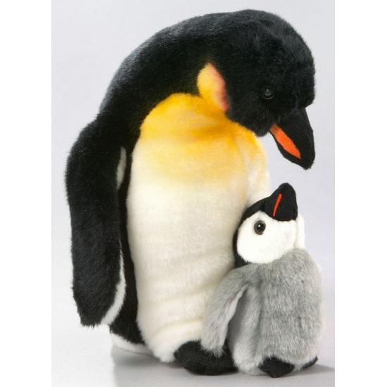 Dieren knuffels Pluche knuffel pinguin met jong 32 cm