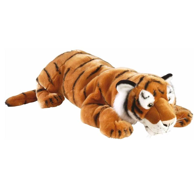 Pluche liggende tijger 76 cm