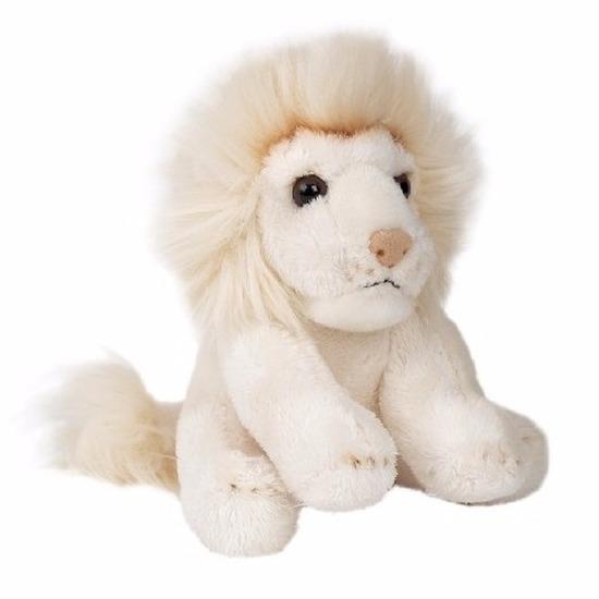 Dieren knuffels Pluche zittende witte leeuw knuffeldier 15cm