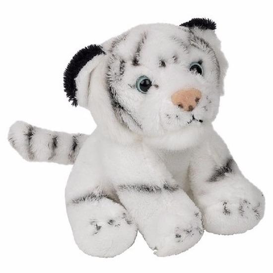 Dieren knuffels CartoonPartner Pluche zittende witte tijger knuffeldier 15cm