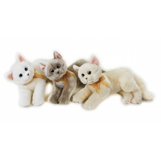 Katten knuffel liggend beige 34 cm. mooie zachte knuffel van een poes. de knuffel heeft veel details zoals de ...