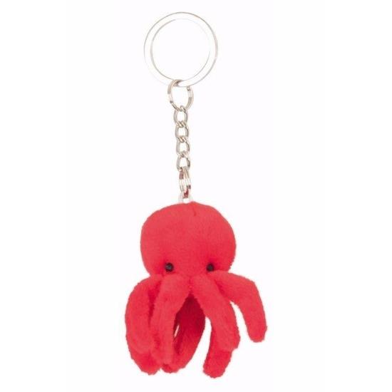Geen Rode octopus sleutel hangertje 6 cm Pluche sleutelhangers