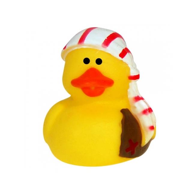 Speelgoed diversen Rubberen piraten badeendje met gestreepte muts