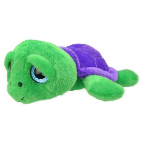 Dieren knuffels Schildpad knuffeltje groen paars 24 cm