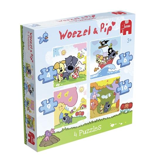Speelgoed puzzel 4 in 1 Woezel en Pip