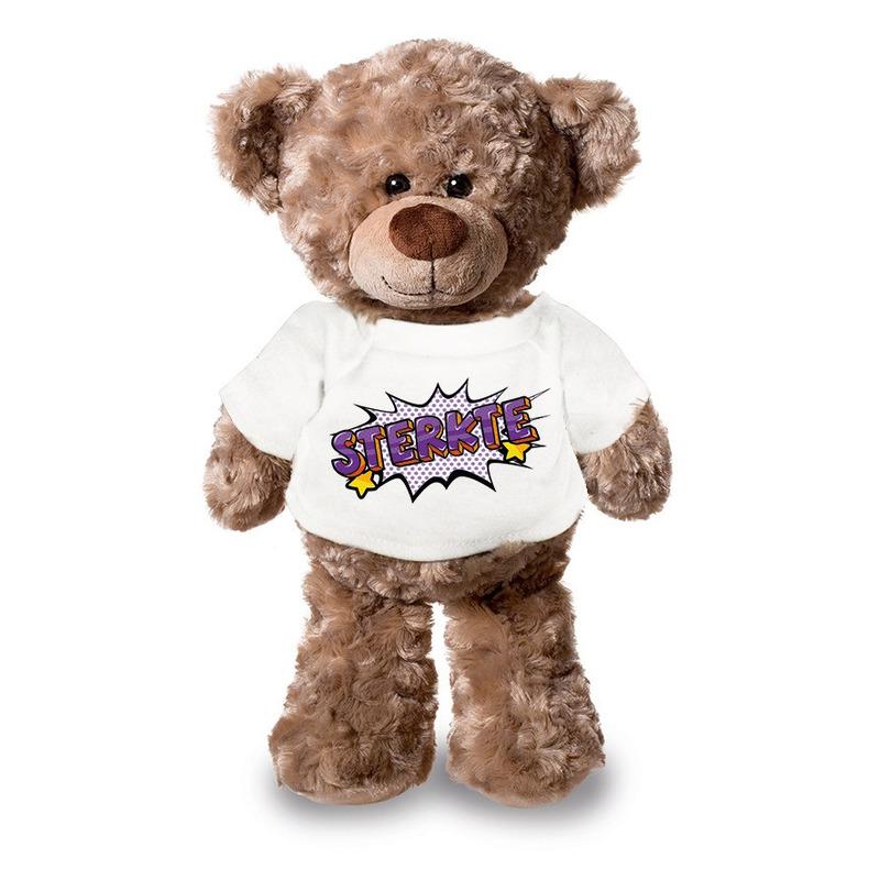 Sterkte pluche teddybeer knuffel 24 cm met wit t-shirt