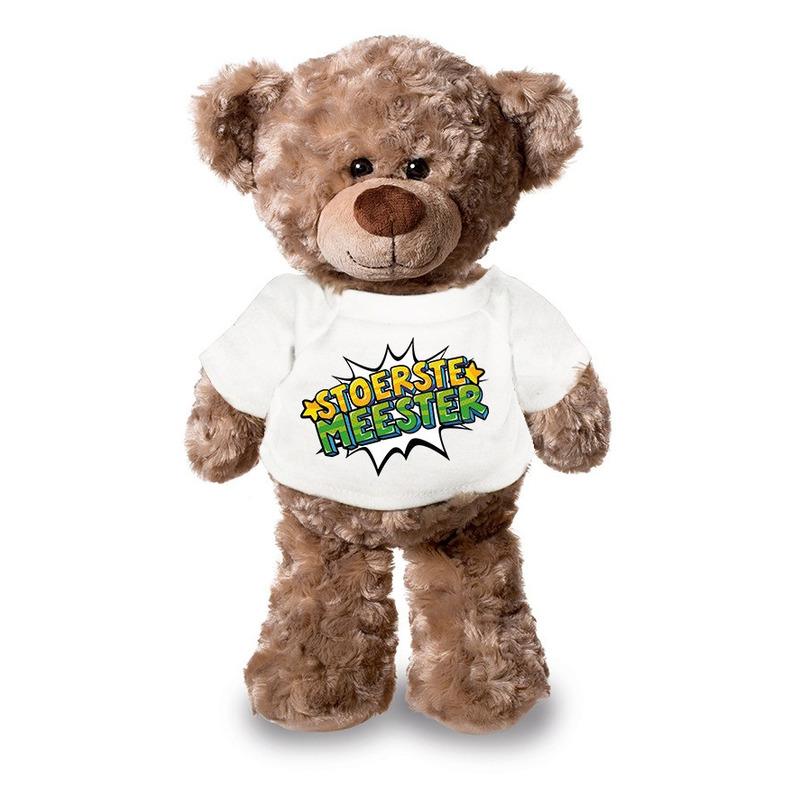 Stoerste meester pluche teddybeer knuffel 24 cm met wit t-shirt
