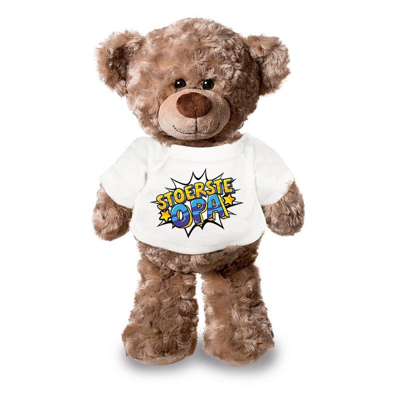 Stoerste opa pluche teddybeer knuffel 24 cm met wit t-shirt