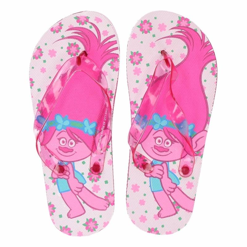 Trolls teenslippers wit/roze voor meisjes