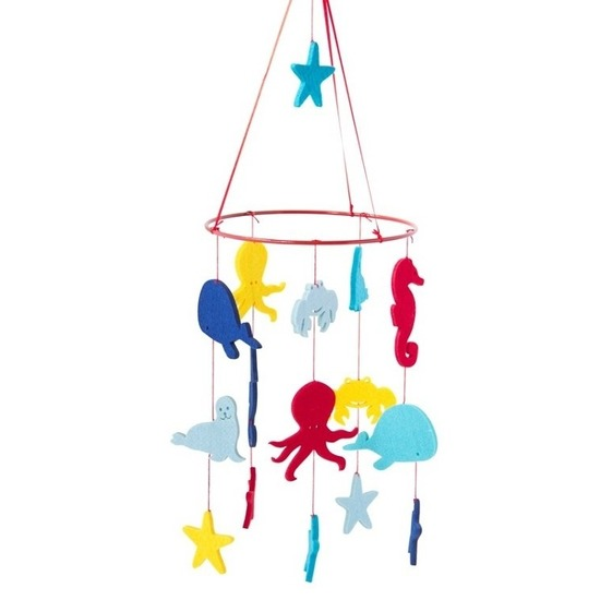 Zeedieren thema baby mobiel/boxmobiel 55 cm kinderkamer decor